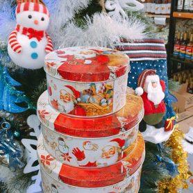 Set 3 Hộp Thiếc Tròn Ông Già Noel