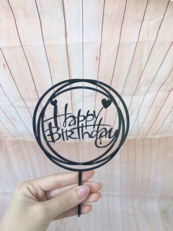 Cây Cắm Happy Birthday Viền Tròn Màu Đen
