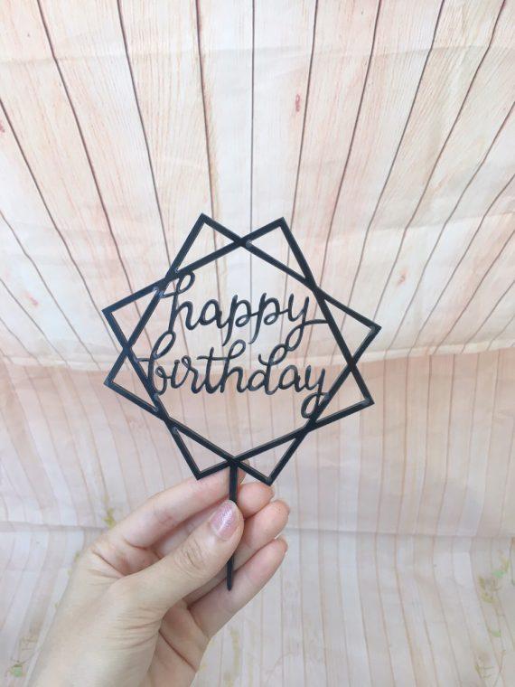 Cây Cắm Happy Birthday Vuông Màu Đen