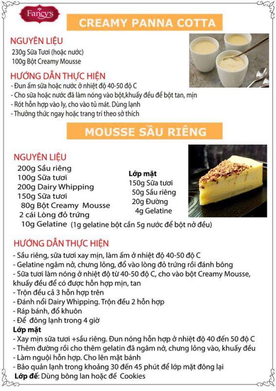 công thức Creamy Mousse 1kg
