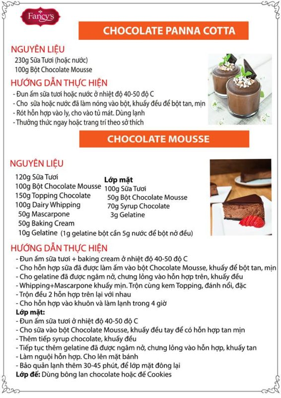 công thức chocolate mousse
