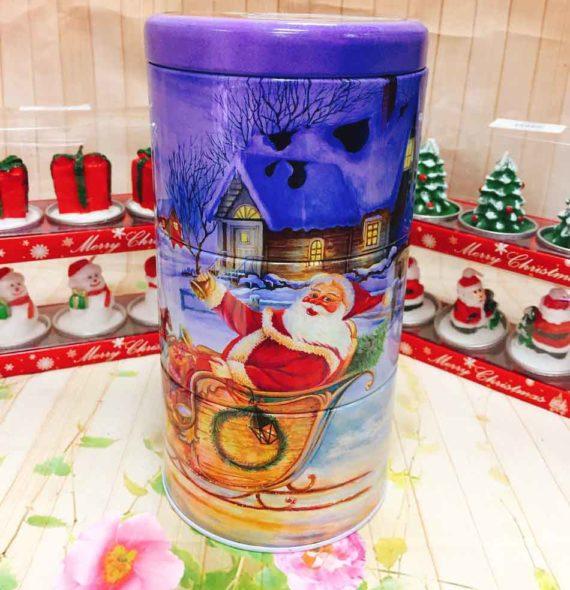 Hộp Thiếc Trụ 3 Ngăn Ông Già Noel