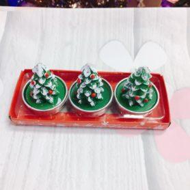 Set 3 Nến Cây Thông Noel Xanh
