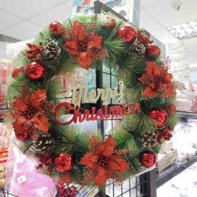 Vòng Nguyệt Quế Noel Hoa Đỏ Size 50Cm