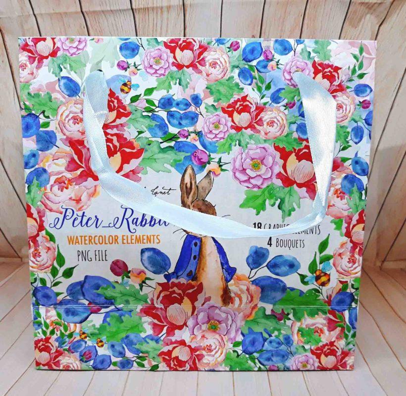 Túi Giấy Họa Tiết Thỏ Và Hoa