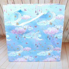 túi giấy màu xanh họa tiết nữa vầng trăng