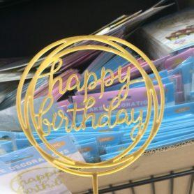Cây Cắm Happy Birthday Viền Tròn Màu Vàng