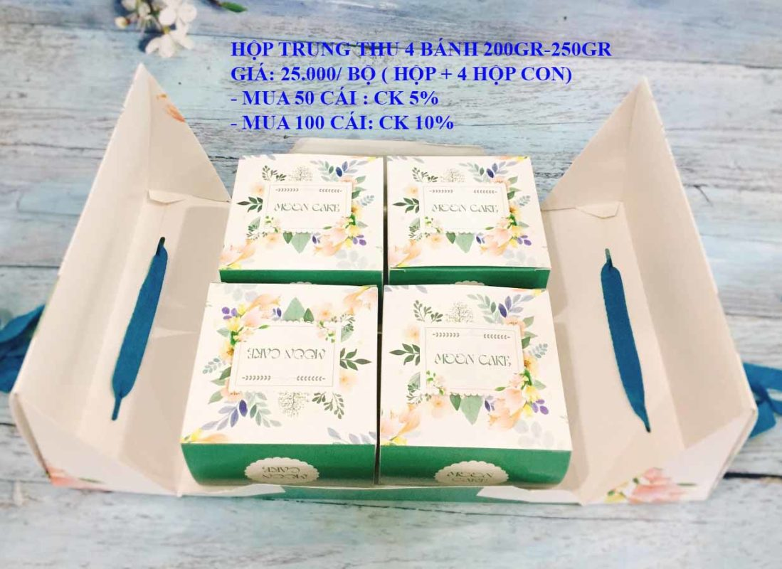 Set Hộp TT 4 Bánh 200gr-250gr Màu Xanh