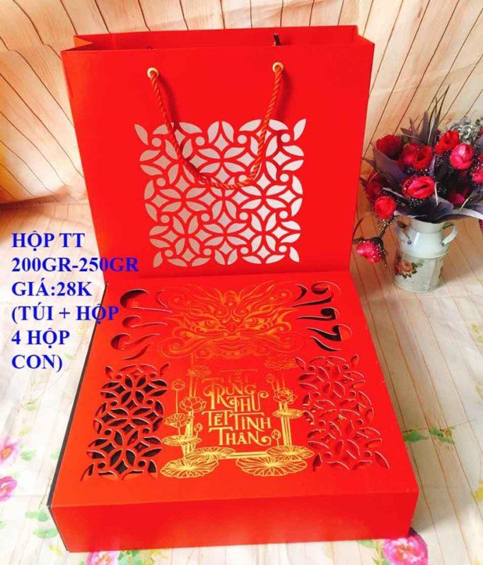 Set Túi Hộp TT 4 Bánh 200gr-250gr Màu Đỏ Cao Cấp