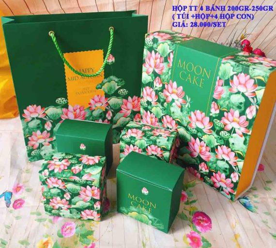Set Túi Hộp TT 4 Bánh 200gr-250gr Hoa Sen Cao Cấp