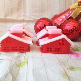 Set 4 Nhà Noel Màu Đỏ