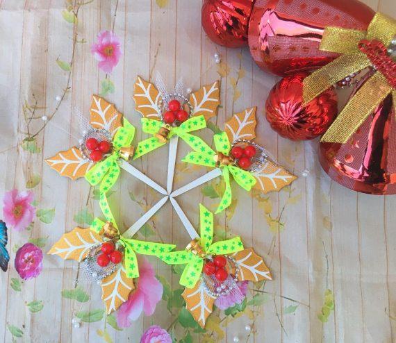Set 5 Lá Trang Trí Noel Màu Vàng