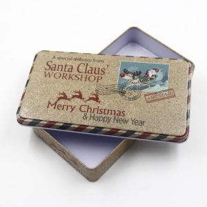 Hộp Thiếc Chữ Nhật Santa Claus