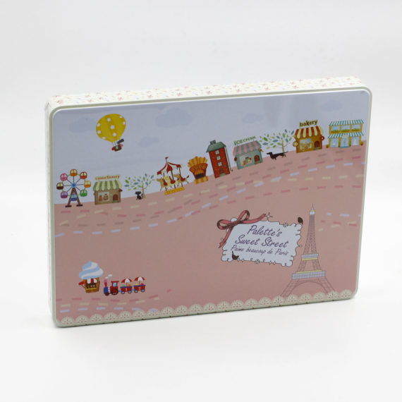 hộp thiếc chữ nhật vintage màu hồng