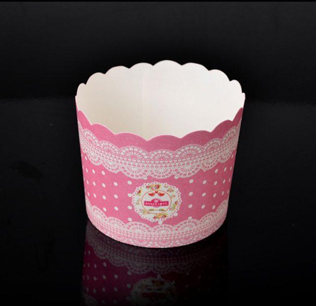 ly giấy cupcake tròn màu hồng 50 cái