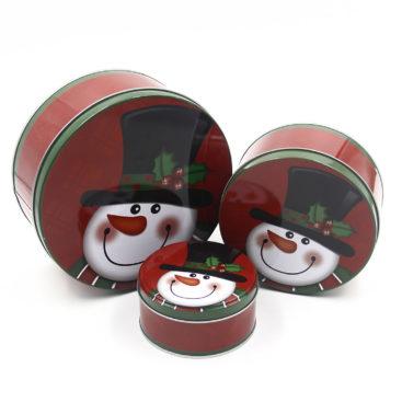 Set 3 Hộp Thiếc Tròn Noel Màu Đỏ 01