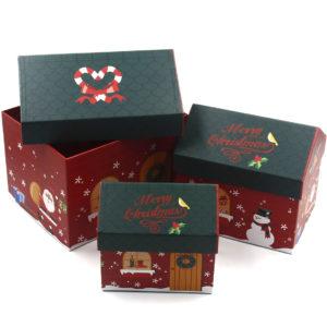 Set Hộp Quà Noel Ngôi Nhà 3 Cái Màu Đỏ 02